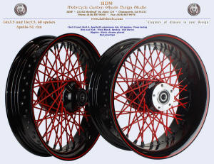 16x3.5 and 16x5.5, Apollo-SL, Vivid Black, Red baron, Black chrome nipples, Red pinstripe