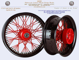 17x3.5 and 16x5.5, Apollo-SL, Cross-Radial, Scarlet Red, Vivid Black