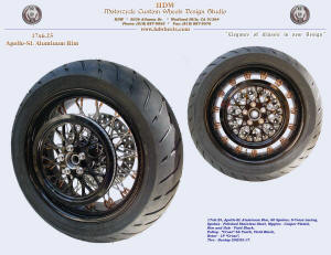 17x6.25, Apollo-SL, S-Cross, Vivid Black, Copper (plated) nipples, Pulley, 200 Dunlop tire