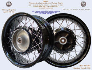 18x5.5, Apollo-SL, Vivid Black, 2007 Honda Shadow, Spirit 750