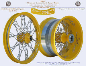 21x2.15 and 18x10.5, Apollo, S-Cross-Radial, New Diamond spokes, Yellow, Custom art work