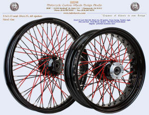 21x2.15 and 18x4.25, Steel rim, Vivid Black, Red Twister