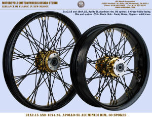 21x2.15 and 18x4.25 Apollo-SL, S-Cross-Radial, Vivid Black, Candy Brass, Solid brass nipples