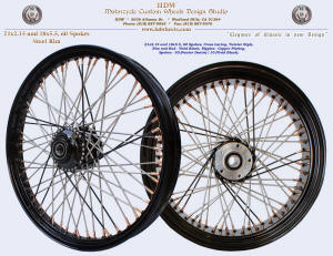 21x2.15 and 18x5.5, Steel rim, Vivid Black, Pewter Denim, Copper plated nipples, Twister style