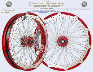 21x3.0, Steel rim, Red Baron, Solid brass nipples, Perimeter brake (simple style rotor)