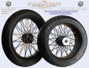 21x3.25 and 18x5.5, Apollo-SL, S-Cross, Denim Black, Candy Copper, Copper plated nipples, 140 and 180 tires