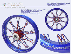 21x3.5, Apollo, S-Cross-Radial, Fat Twisted spokes, Deep Cobalt Blu, Inca Orange Pearl, Custom art work