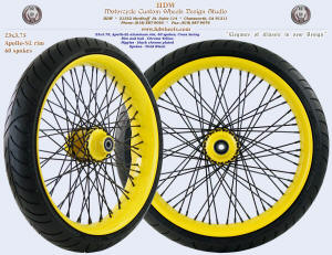 23x3.75, Apollo-SL, Chrome Yellow, Vivid Black, Black chrome plated nipples, 130/60-23 Avon tire