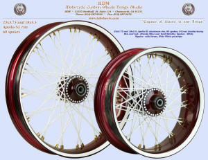 23x3.75 and 18x5.5, Apollo-SL, S-Cross, Brandy Wine, White, Solid brass nipples, Wide White pinstripe