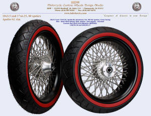 18x3.5 and 17x6.25, Apollo-SL, Fat spokes, Semi Gloss Black, Brushed, , Custom Red Wall tires