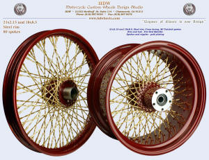 21x2.15 and 18x8.5, Steel rim, Twisted spokes, Fire Red Metallic, Gold plating