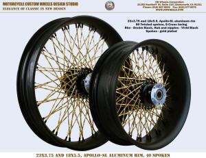 23x3.75 and 18x5.5 80 Twisted S-Cross Black and gold Harley