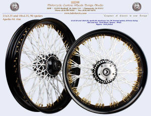 21x3.25 and 18x4.25, Apollo-SL, B-Cross, Twisted spokes, Vivid Black, White, Gold plated nipples